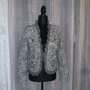 Oleg Cassini Black & Grey Tweed Blazer.